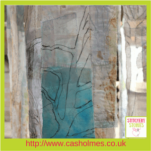 Cas Holmes Textile Artist Trees installation (2) at Farnham Pottery Stitchery Stories Podcast Guest