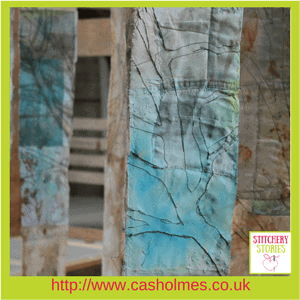 Cas Holmes Textile Artist Trees installation (3) at Farnham Pottery Stitchery Stories Podcast Guest