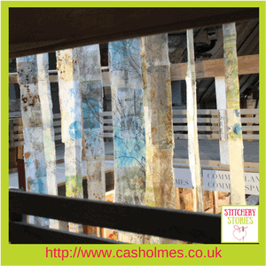 Cas Holmes Textile Artist Trees installation at Farnham Pottery Stitchery Stories Podcast Guest (1)