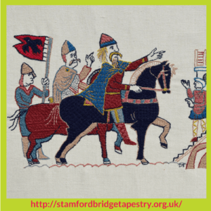 Embroidery on the Battle Of Stamford Bridge Tapestry – Stitchery Stories Podcast Episode