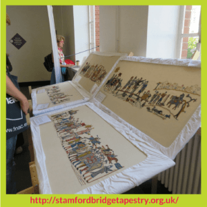 Four panels from The Battle Of Stamford Bridge Tapestry – Stitchery Stories Podcast Episode