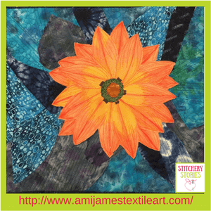 Ami James Textile Artist Orange Flower Quilt Stitchery Stories Podcast Guest (1)