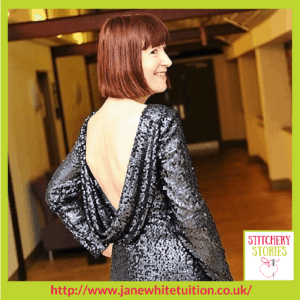Jane White Couture Dressmaking Tuition Student Evening Gown Stitchery Stories Textile Art Podcast Guest
