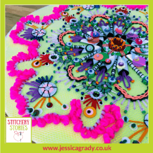 Jessica Grady Embroidery Artist Flourish from Blossom Collection Stitchery Stories Textile Art Podcast Guest