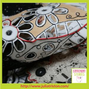 Julia Triston Textile Artist Lace Lines detail Stitchery Stories Textile Art Podcast