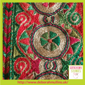 Deborah Mullins Red and Green Border Stitchery Stories Textile Art Podcast Guest