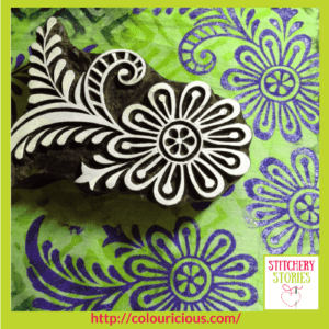 Jamie Malden Colouricious block printing wooden block and sample Stitchery Stories Textile Art Podcast Guest