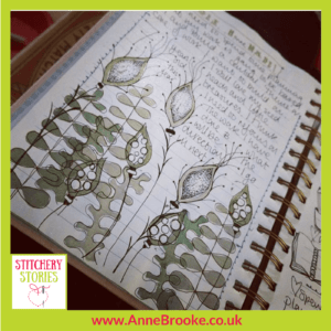 Anne Brooke sketchbook page Stitchery Stories Textile Art Podcast Guest