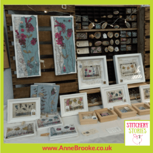 Anne Brooke work on display Stitchery Stories Textile Art Podcast Guest