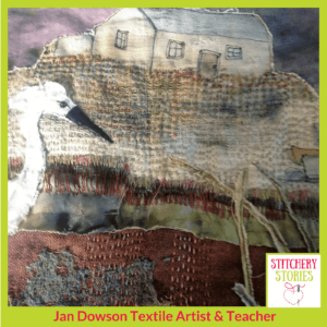 Jan Dowson work in progress heron I Stitchery Stories Textile Art Podcast Guest