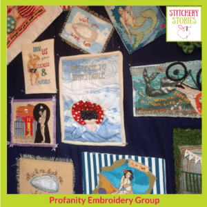 Profanity Embroidery Group Saucy Seaside postcards I Stitchery Stories Textile Art Podcast Guest
