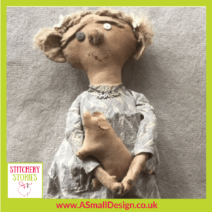Ann Small character doll 'Amanda' Stitchery Stories Textile Art Podcast Guest