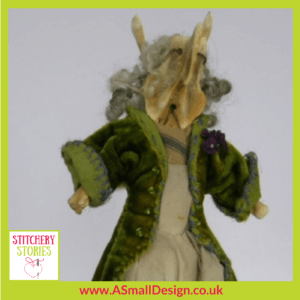 Ann Small gentleman character made from Bones Stitchery Stories Textile Art Podcast Guest