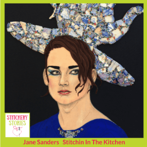 Jane Sanders textile portrait of Boy George Stitchery Stories Textile Art Podcast Guest