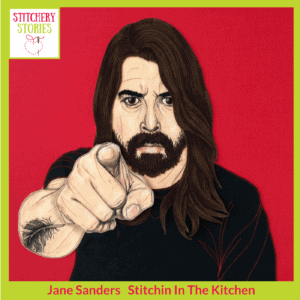 Jane Sanders textile portrait of Dave Grohl Stitchery Stories Textile Art Podcast Guest