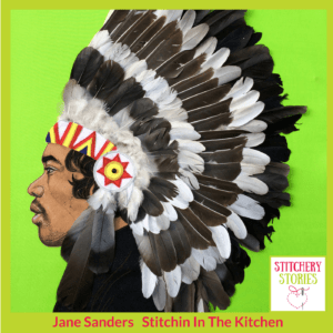 Jane Sanders textile portrait of Jimi Hendrix Stitchery Stories Textile Art Podcast Guest