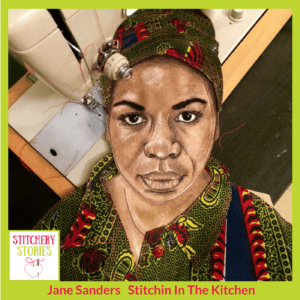 Jane Sanders textile portrait of Nina Simone Stitchery Stories Textile Art Podcast Guest