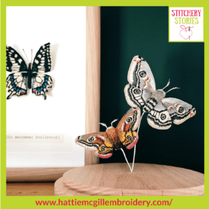 Moths & Swallowtail butterfly by Hattie McGill Stitchery Stories Textile Art Podcast Guest