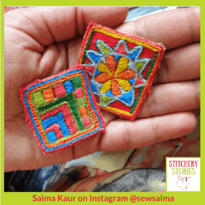 Saima Kaur 2 mini embroideries inspired by India _ Stitchery Stories Textile Art Podcast Guest