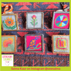 Saima Kaur mini embroideries inspired by India _ Stitchery Stories Textile Art Podcast Guest