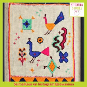 Stylised peacock featured in Punjabi Phulkaris _ Saima Kaur _ Stitchery Stories Textile Art Podcast Guest