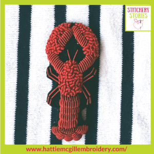 goldwork Lobster by Hattie McGill Stitchery Stories Textile Art Podcast Guest