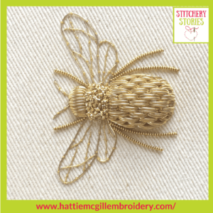 goldwork bee by Hattie McGill Stitchery Stories Textile Art Podcast Guest