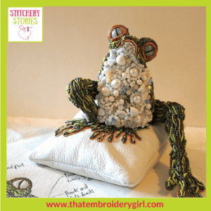 Frog in 3d beaded goldwork by Georgina Bellamy Stitchery Stories Textile Art Podcast Guest