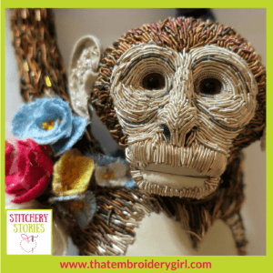 Monkey in 3d beaded goldwork by Georgina Bellamy Stitchery Stories Textile Art Podcast Guest