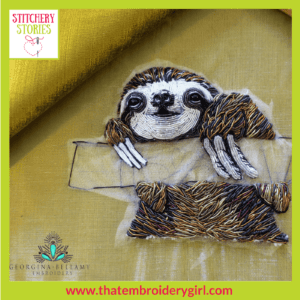 Sloth in 3d beaded goldwork WIP by Georgina Bellamy Stitchery Stories Textile Art Podcast Guest