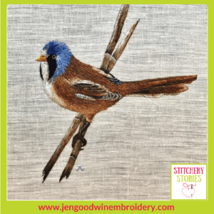 Bearded Tit by Jen Goodwin Stitchery Stories Textile Art Podcast Guest