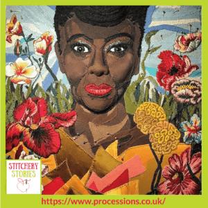 Detail of art from Artichoke commissioned artist_ Jess de Wahls _ Stitchery Stories Textile Art Podcast