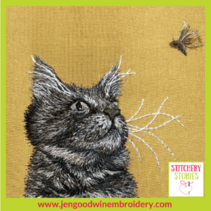 Dillmont & The Moth by Jen Goodwin Stitchery Stories Textile Art Podcast Guest