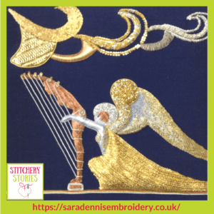 Goldwork Angel by Sara Dennis Stitchery Stories Textile Art Podcast Guest