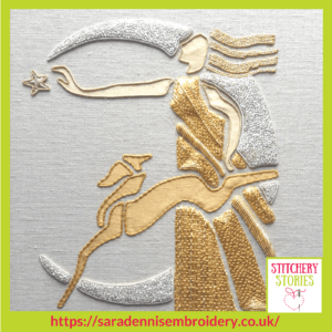 Goldwork by Sara Dennis Stitchery Stories Textile Art Podcast Guest