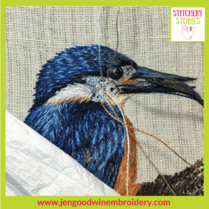 Kingfisher silk shading WIP by Jen Goodwin Stitchery Stories Textile Art Podcast Guest