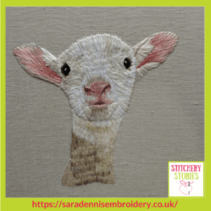 Lamb by Sara Dennis Stitchery Stories Textile Art Podcast Guest