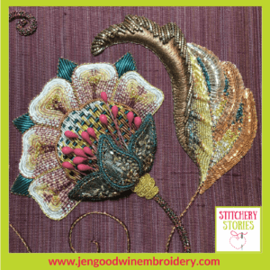 Modern Goldwork Floral Detail by Jen Goodwin Stitchery Stories Textile Art Podcast Guest