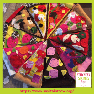 Pizza Projects at Say It Aint Sew Iona Barker Stitchery Stories Textile Art Podcast Guest