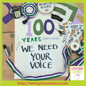 Processions 2018 Call To Action poster Edinburgh College of Art, artist is Lindy Richardson _ Stitchery Stories Textile Art Podcast