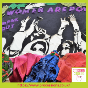 Processions 2018 banner WIP by group Scottish Refugee Council banner. Artists are Paria Goodarzi and Helen de Main Stitchery Stories Textile Art Podcast