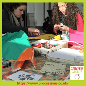 Processions 2018 group working at Lighthouse, Poole with artist Denise Poote _ Stitchery Stories Textile Art Podcast