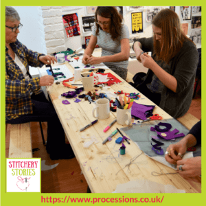 Processions 2018 group working at madeinroath Their artist Jessica Akerman _ Stitchery Stories Textile Art Podcast