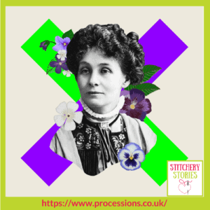 Processions 2018 logo featuring Emmeline Pankhurst and the suffragette colours | Stitchery Stories Textile Art Podcast Guest