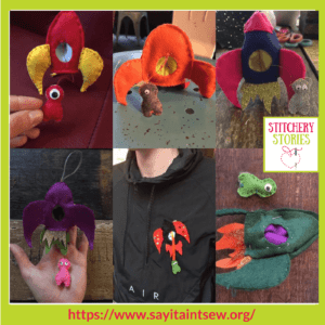 Rockets & Aliens Projects at Say It Aint Sew Iona Barker Stitchery Stories Textile Art Podcast Guest