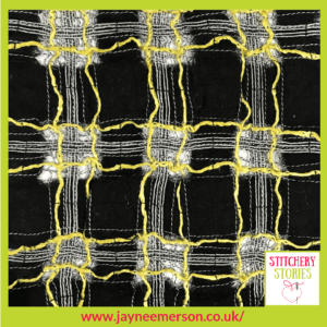 Black & Yellow check weave sample by Jayne Emerson Stitchery Stories Textile Art Podcast Guest