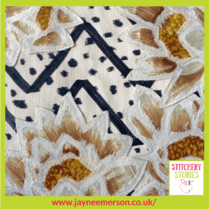 Flowers, Spots & Zigzags sample by Jayne Emerson Stitchery Stories Textile Art Podcast Guest