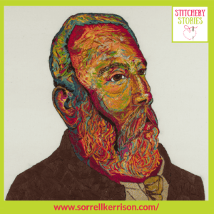 Hand Embroidered portrait of William Midgley by Sorrell Kerrison Stitchery Stories Textile Art Podcast Guest
