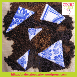 Blue & White Plate Remnants by Alex Hall Stitchery Stories Textile Art Podcast Guest