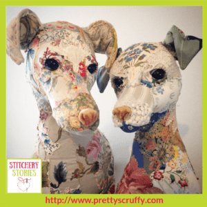 Bronwen & Winnie textile sculpture by Bryony Jennings Stitchery Stories Textile Art Podcast Guest